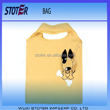 low price heat transfer printing promotional dog shape 210D Oxford cloth shopping bag