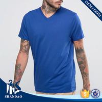 Summer Men Soft Cotton Casual Dark Blue V-Neck Short Sleeve Blank Custom Logo Design Your Own T Shirt