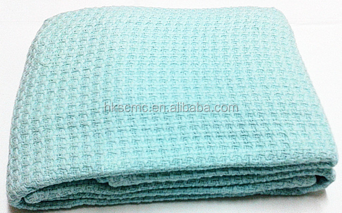 High Quality Mint Cotton Waffle Children Blanket