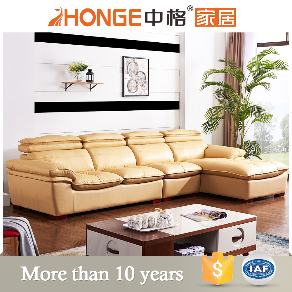 Drawing Room Furniture L Shaped 4 Seater Low Price Real Leather Corner Sofa Bed Set Product
