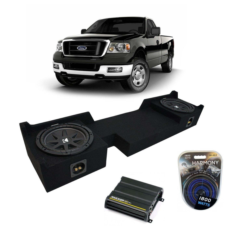 """2004-2008 Ford F-150 Ext Super Cab Truck Kicker Comp C10 Dual 10"""" Sub Box Enclosure & CX600.1 Amp"""