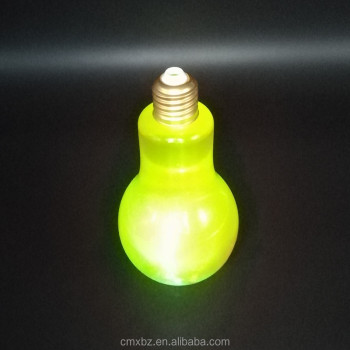 Size custom juice drinking led flashing plastic light bulb bottle
