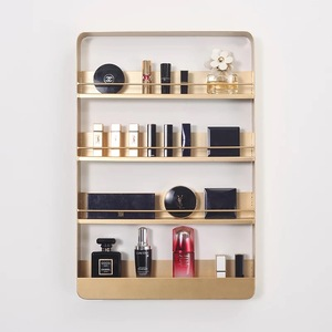Nordic wall cosmetics display rack, nail polish lipstick shelf, multi - layer creative gold shelf table