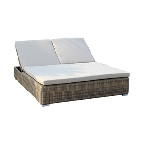Wicker furniture outdoor double sun lounger / lounge bed