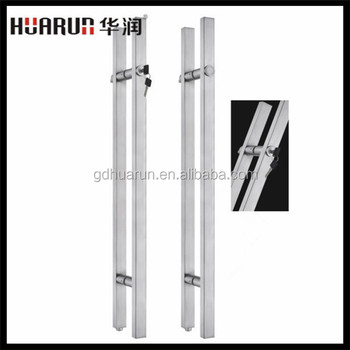 Stainless steel long glass door handle with keys made of SUS304 ...