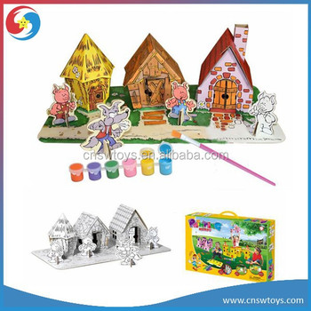 Kids Painting House Toy 3d Puzzle Eco Paper Material Include Watercolor  Brush - Buy Kids Painting,Kids Painting House Toy,Kids Painting House Toy  3d