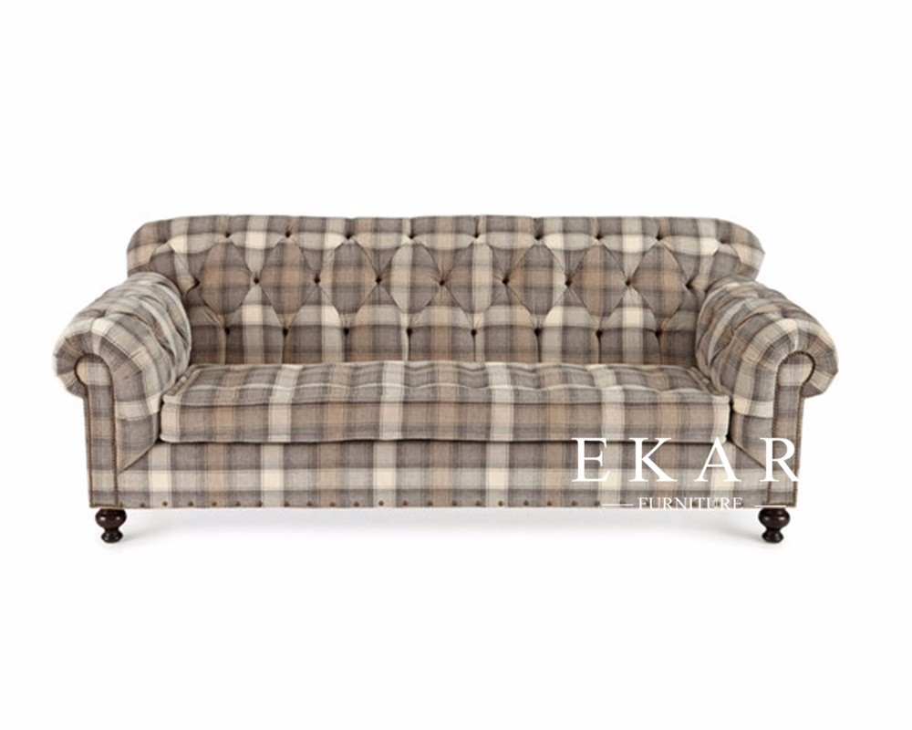 England Style Tartan Design Simple Wooden And Fabric Sofa Set Lounge
