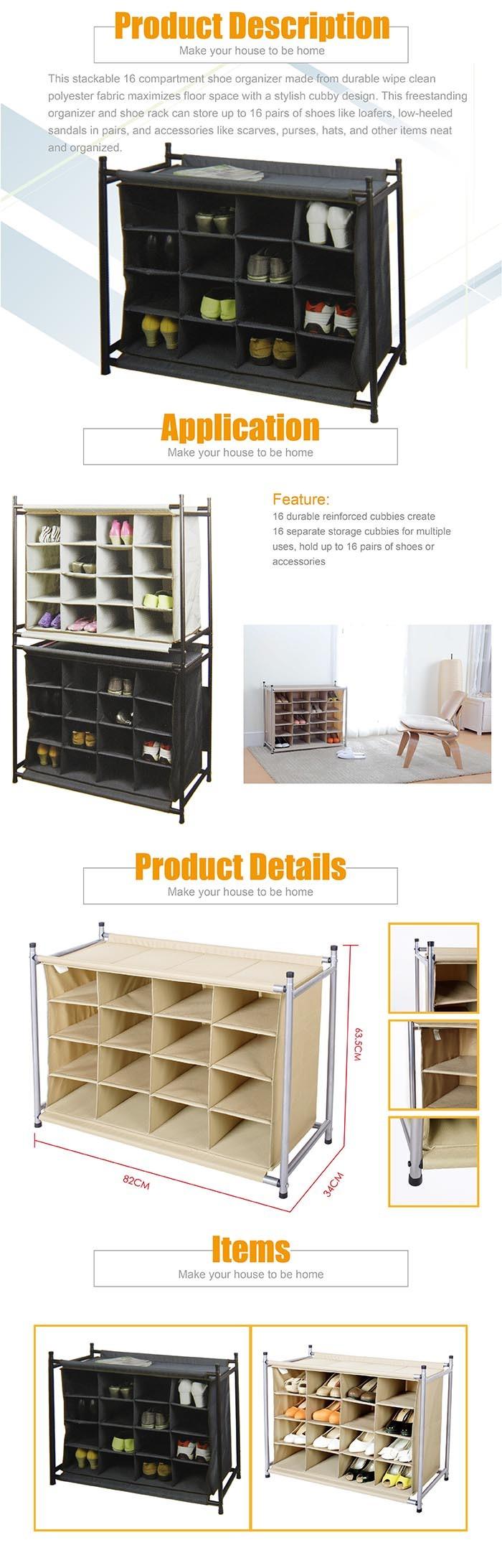 Front door shoe rack 16 pairs shoe organizer in canvas for Front door shoe storage