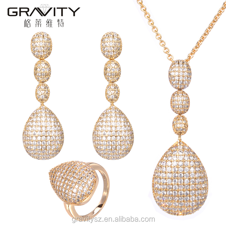 luxury style dubai 18 carat gold plated jewellry sets with cubic zirconia