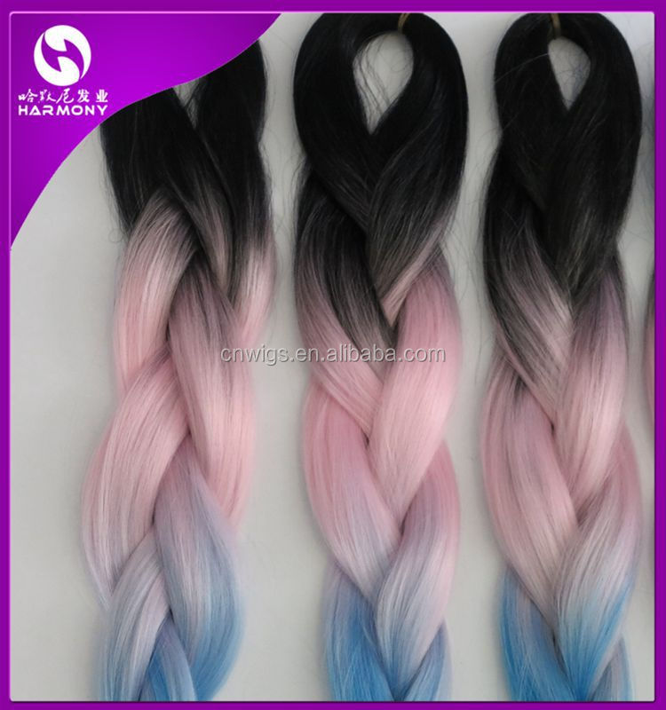 Black/pink/blue ) Stock Synthetic Hair For Jumbo Braiding / Ombre ...