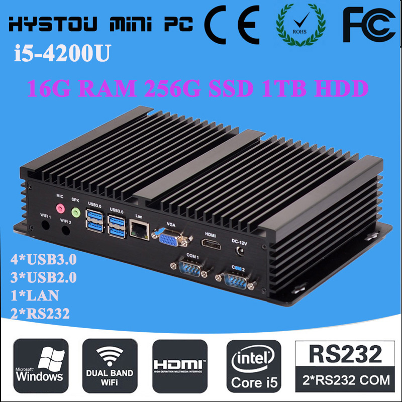gsm mini pc fanless industrial mini windows pc 2RS232 Intel Core i5 4200U 16G RAM 256G SSD 1TB HDD