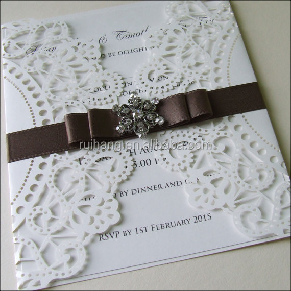 Navy Blue Ivory With Silk Ribbon And Diamond Laser Cut Wedding Invitation Cards Suitable Price