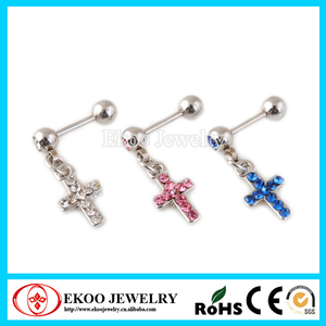 316L Surgical Steel Crystal Cross Dangle Tragus Studs Tragus Piercing jewelry