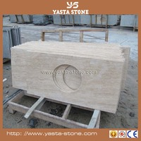 Solid surface Beige travertine cut-to-size countertop vanity tops for bathroom