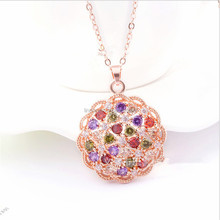 Luxury Bloom Shape Pendant Necklace Colorful Mosaic Jewelry Necklace Rose Gold Necklace