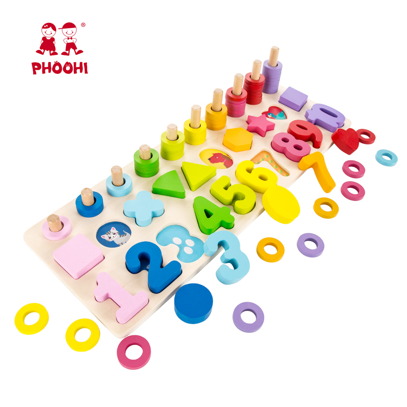 China 3 In 1 Digital Shape Matching Board Montessori Teaching Wooden Educational Toy For Kids 3+