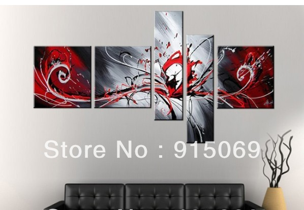 Red Gray And Black Wall Art