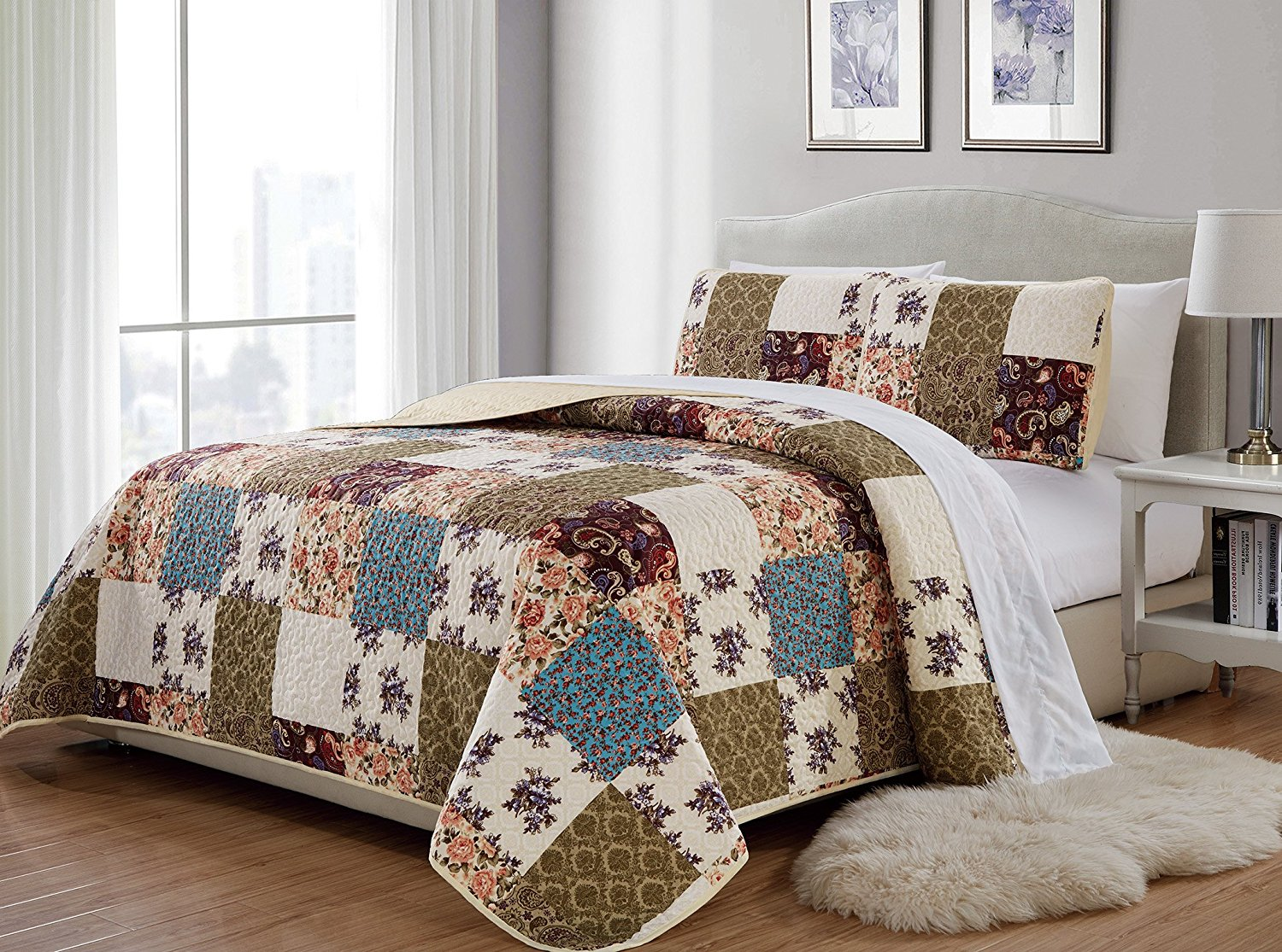 Fancy Collection 2 Pc Twin/Twin Extra Long Quilted Bedspread Floral Beige Green Purple Taupe Blue Over Size New