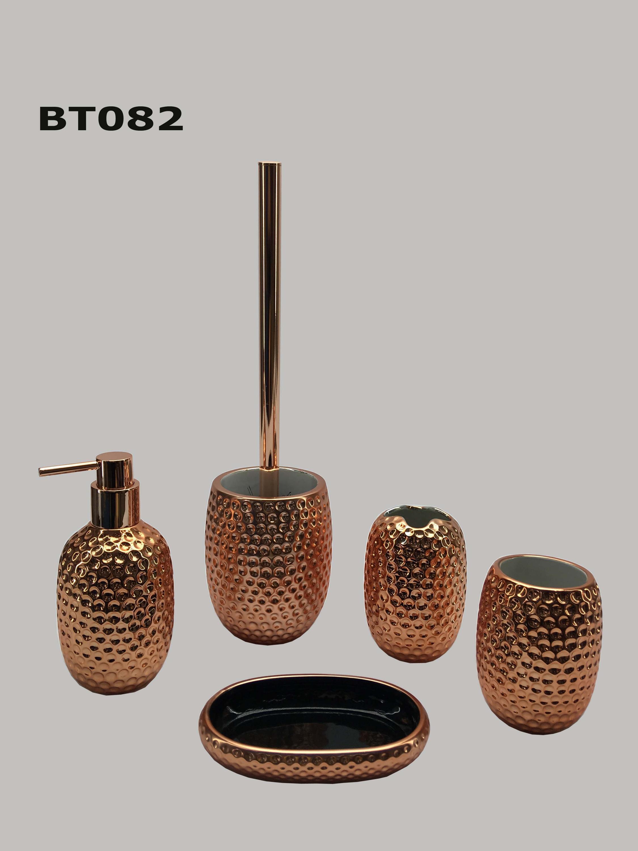 Luxury unique design cylinder shaped rose gold color hotel home ceramic bathroom accessories set
