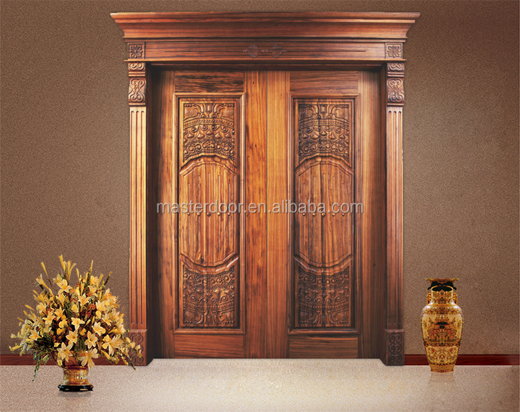 Luxury 48 inch wooden double door designs for indian homes for Front door design in india