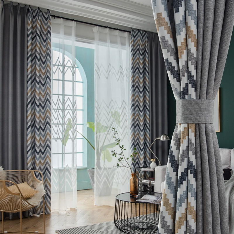 54inch Geometric printed ready made grommet linen window blackout <strong>curtains</strong> <strong>for</strong> the living room &amp; hotel <strong>curtain</strong> in grey colour