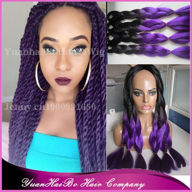 "Wholesale Cheap Price! 20"" fold 6pcs <strong>black</strong>/purple two tone synthetic hair ombre jumbo braid hair"