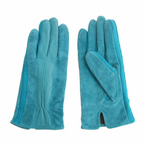Women blue suede leather hand gloves fashion leather gloves