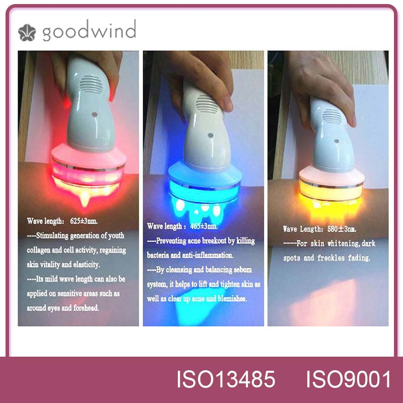 China supplier led light care face lifting green blue red photon light facial massager