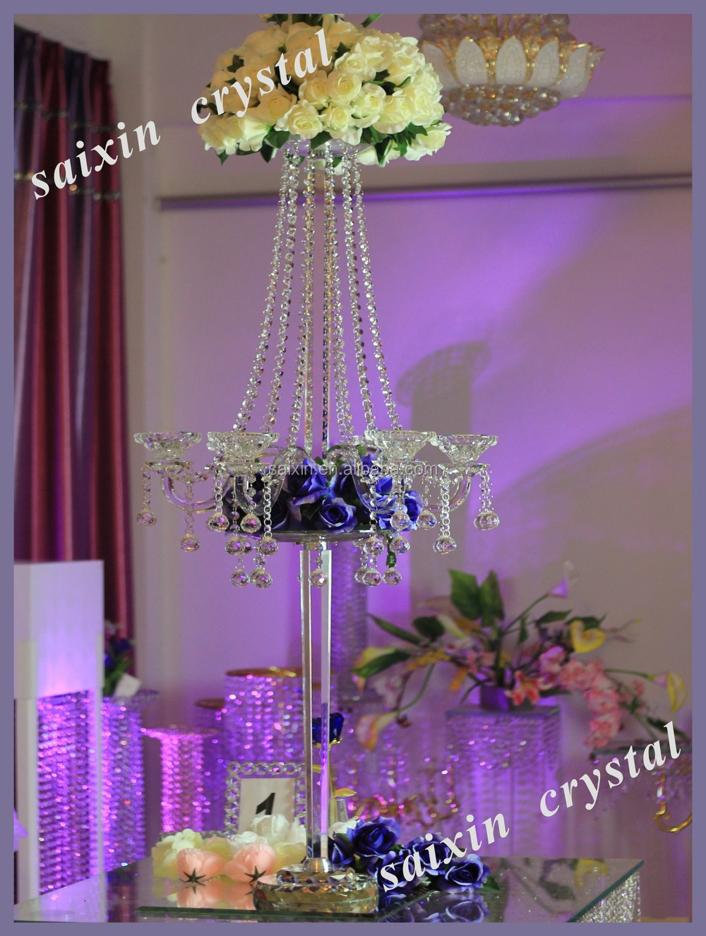 Crystal candelabra wedding centerpiece and flower stand
