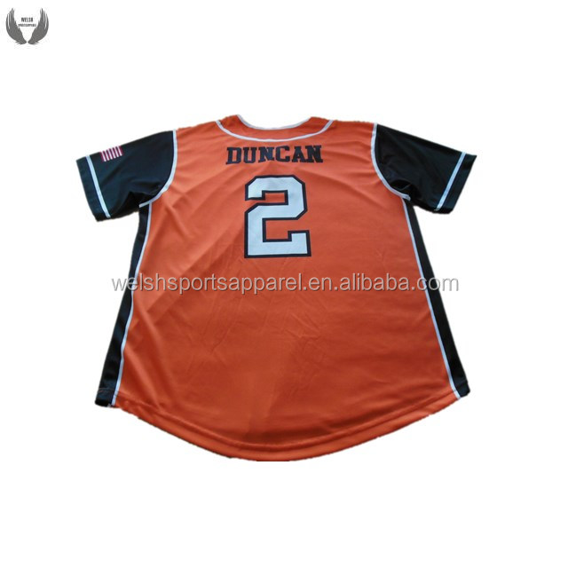 Custom logo orange baseball uniform manufacturer