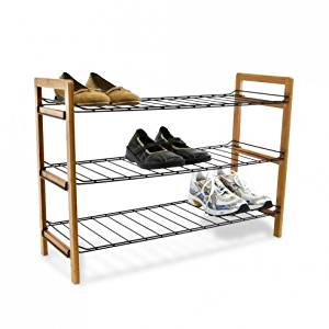 Get Quotations Shoe Rack 3 Tier Bamboo Wire