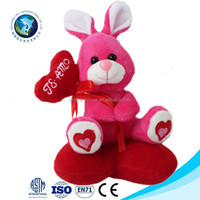 2016 soft plush valentine's day animal toys rabbit with red heart customized stuffed valentine gift plush toy rabbit with heart