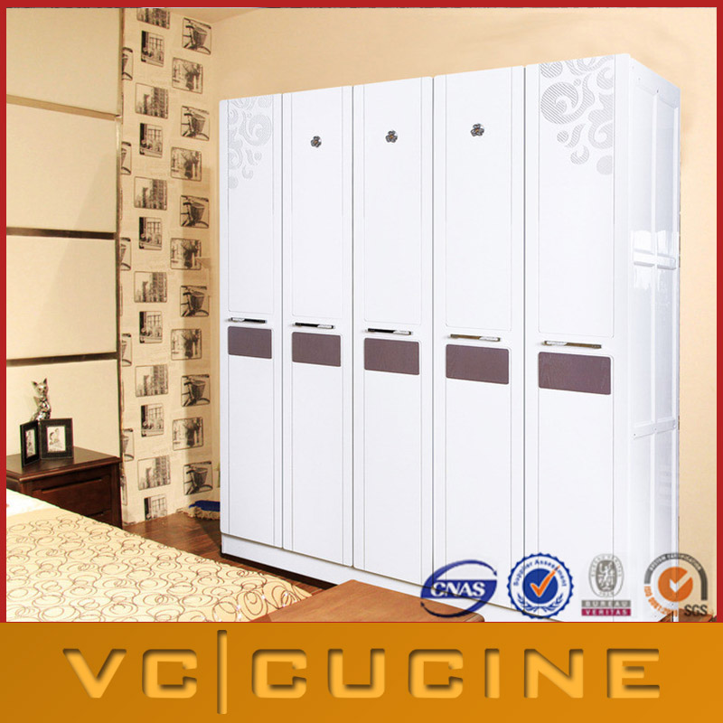 High gloss lacquer white wardrobe with 5 doors
