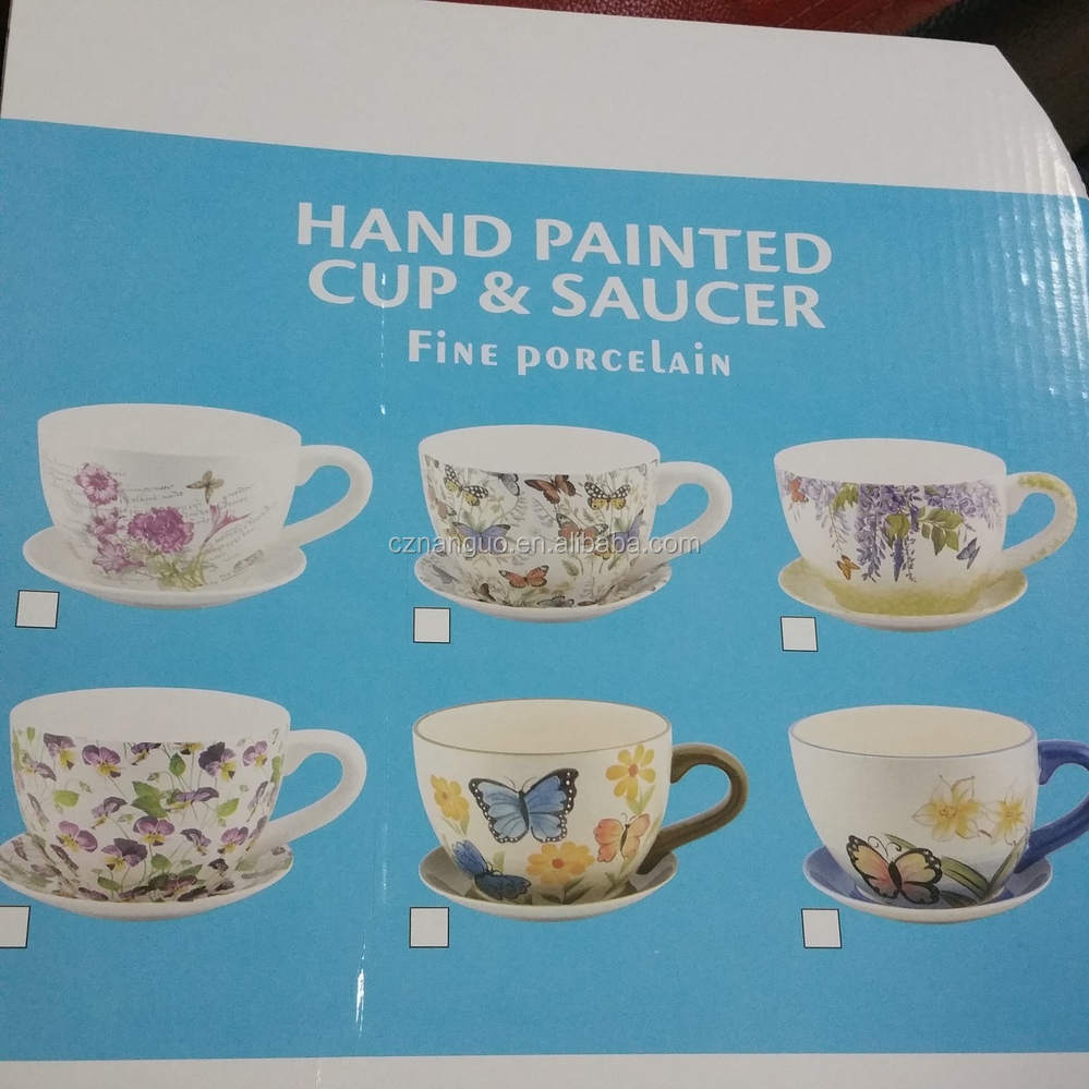 Ceramic Hand Painted Tea Cup Saucer Planter Buy Flower Cup And