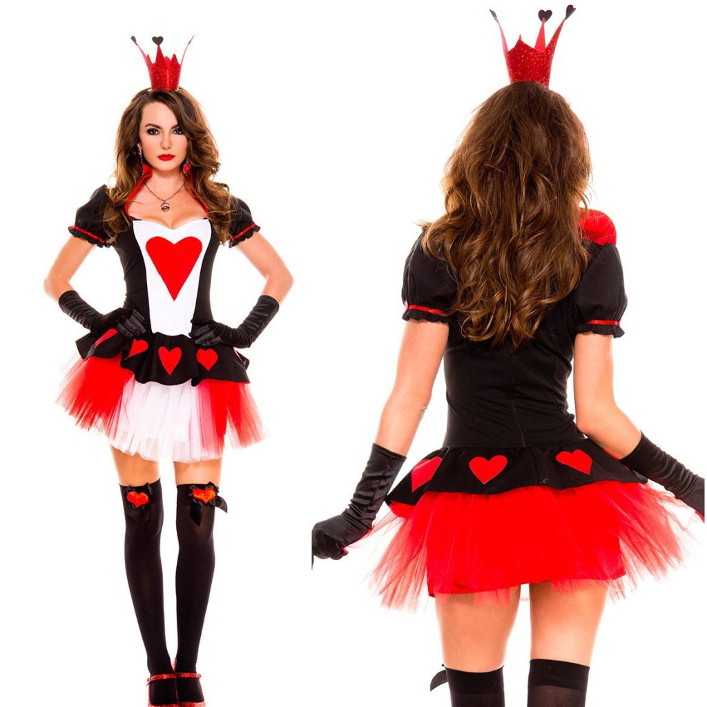 2015 New Princess Alice Costume Fancy Dress Sexy Shcool Girl Queen Of Hearts Costume Dresses Halloween Costumes For Women