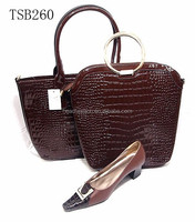 genuine leather italian shoes and bag set wholesale 2016 cheap wedding shoes and matching handbag for women