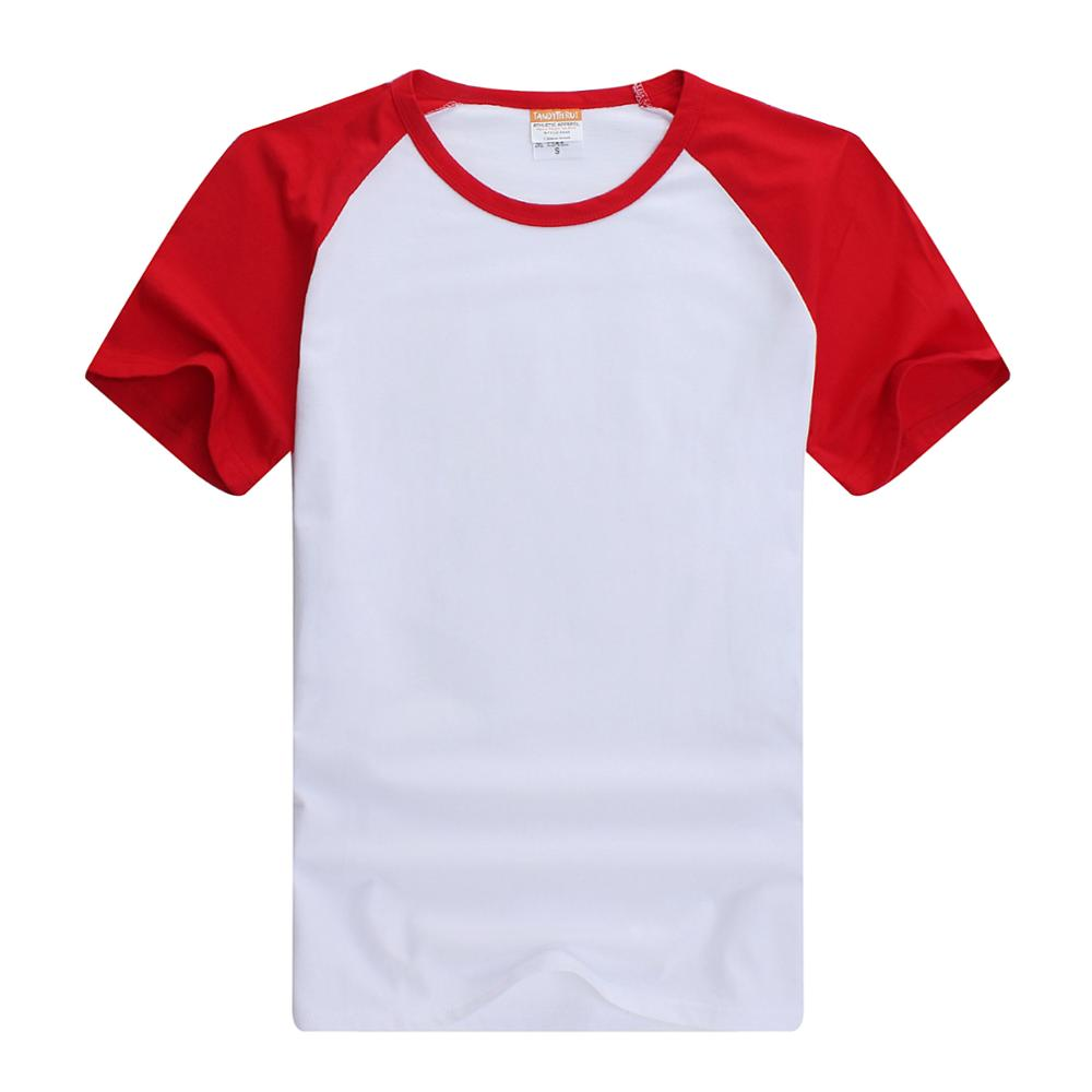Custom Logo Polyester Raglan Short Sleeve Plain Contrast Sleeve O-neck T shirt