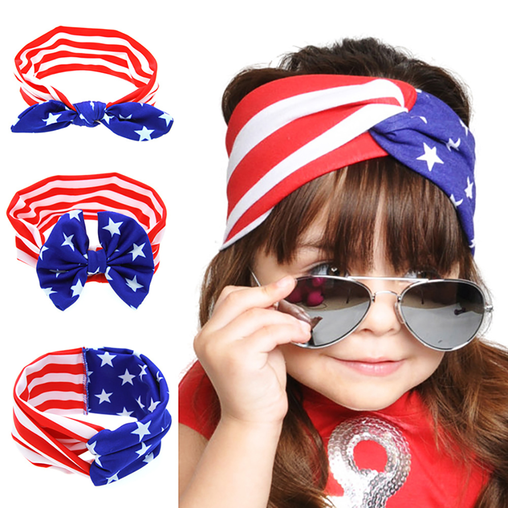 4th of July Independence Day Kids Baby Bow Headband American Flag Turban Headband For Fashion Girls hair accessories