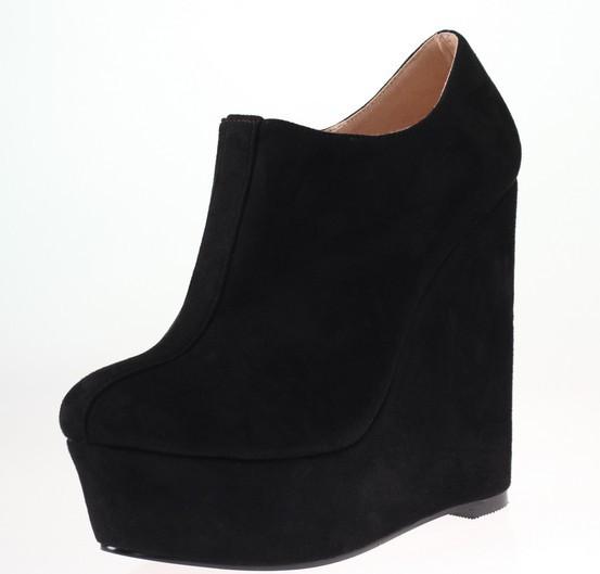 3eabf50d875 Get Quotations · Plus Size 34-46 Women Platforms Flock Pumps Fashion Round  Toe Comfort Wedges Thick Sole