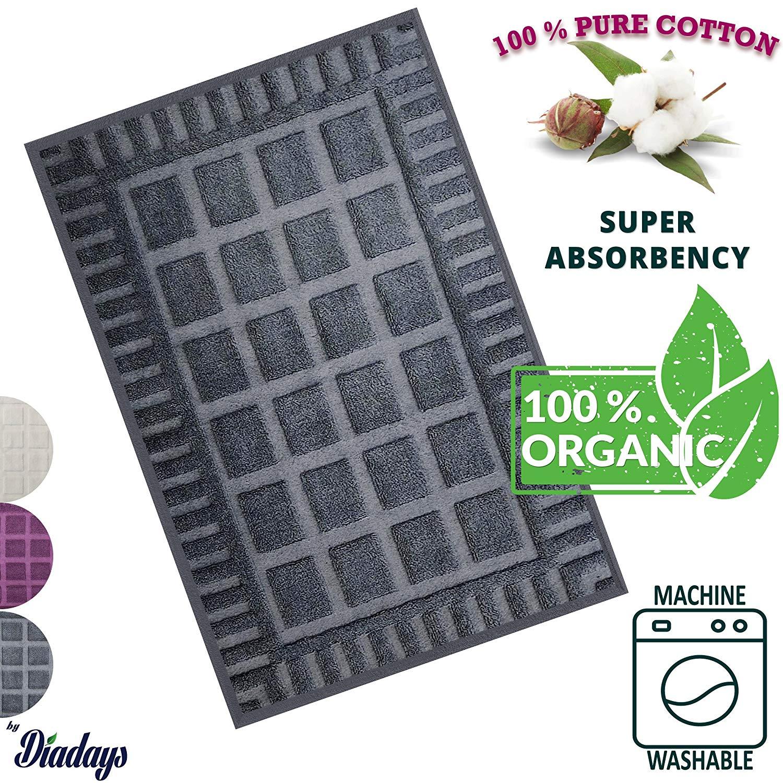 Get Quotations Diadays 100 Organic 2018 Designed Plaid Gray Bath Mat For Bathroom Floor Antibacterial Turkish Cotton