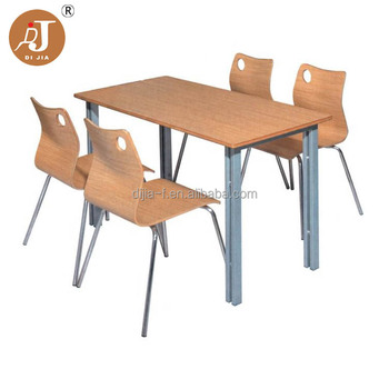 Heavy Duty Stainless Steel Legs Cafeteria Dining Table And Chairs