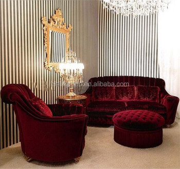 Royal French Versailles Red Velvet Upholstery Couch Set, Custom Imperial  Ruby Red Cozy Sofa