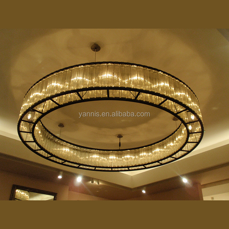 Modern Large Round Ring Crystal Chandelier Hotel Lamp Pendant Lighting
