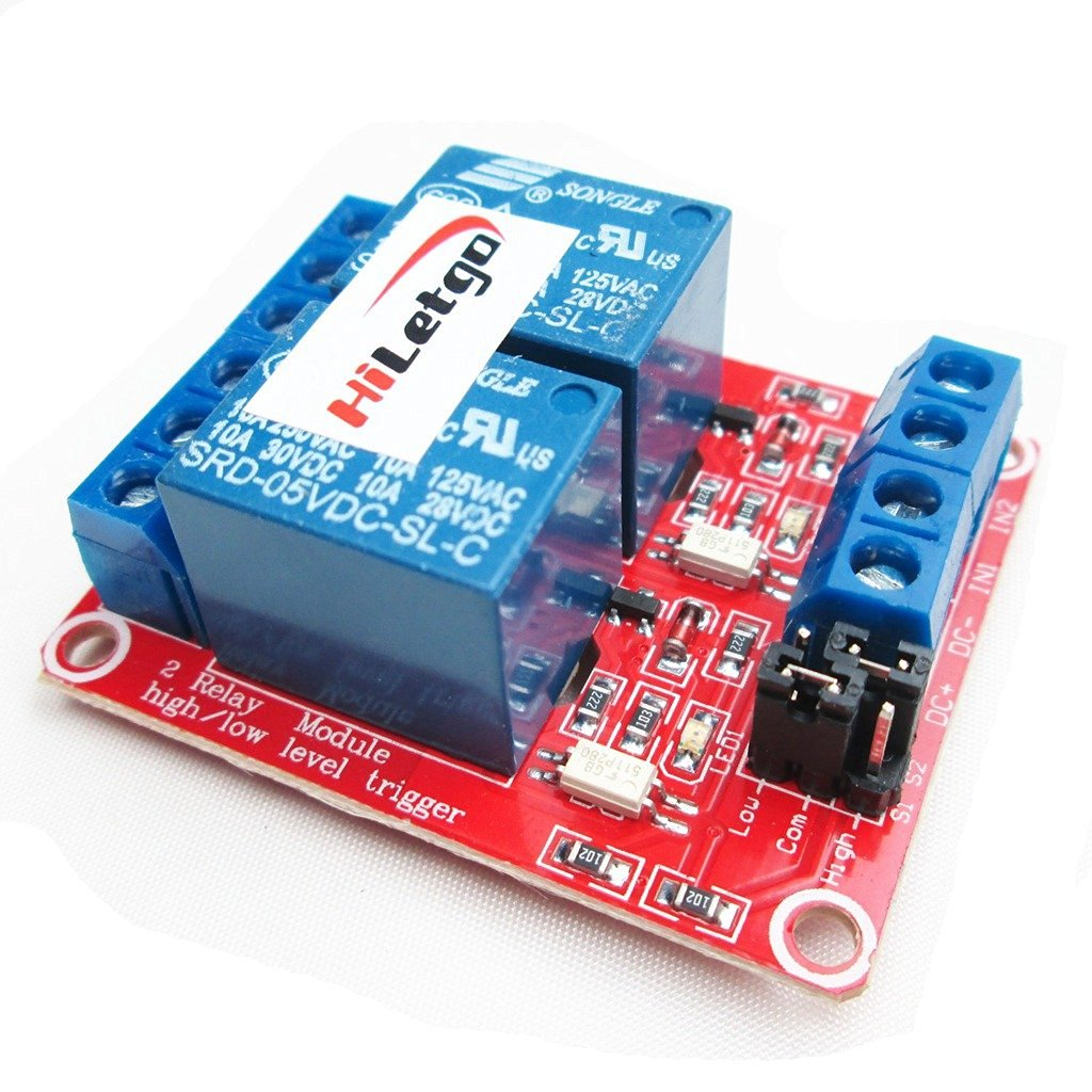 HiLetgo 5V 2 Channel Relay Module With OPTO Isolation Support High and Low Level Trigger