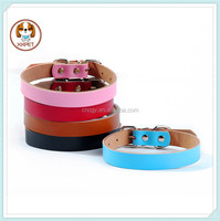 Custom DIY plain wholesale leather dog collars for dog products