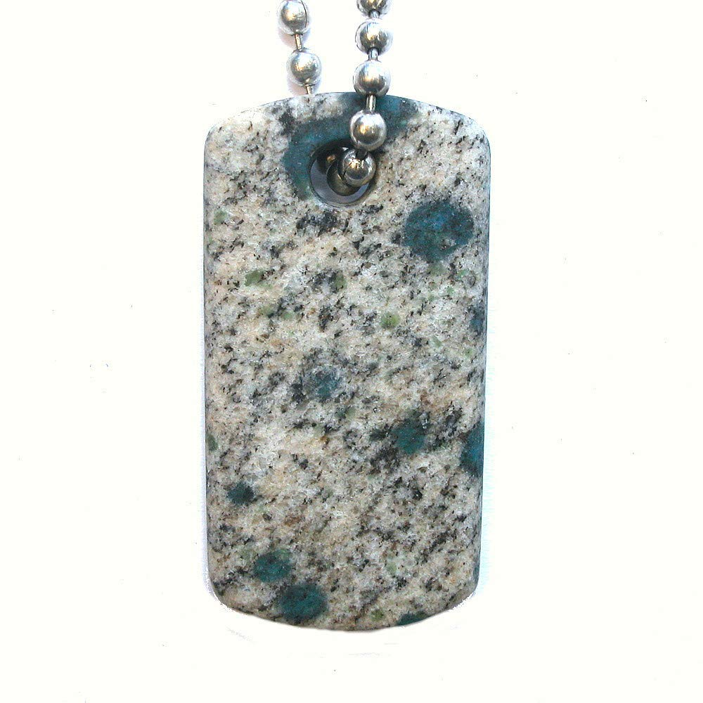 DVH K2 Blue Granite Azurite Matte Dog Tag Focal 46x22x6mm (1077)