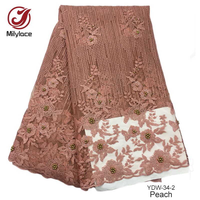 Fashionable ankara french tulle lace gold beaded lace fabric for party