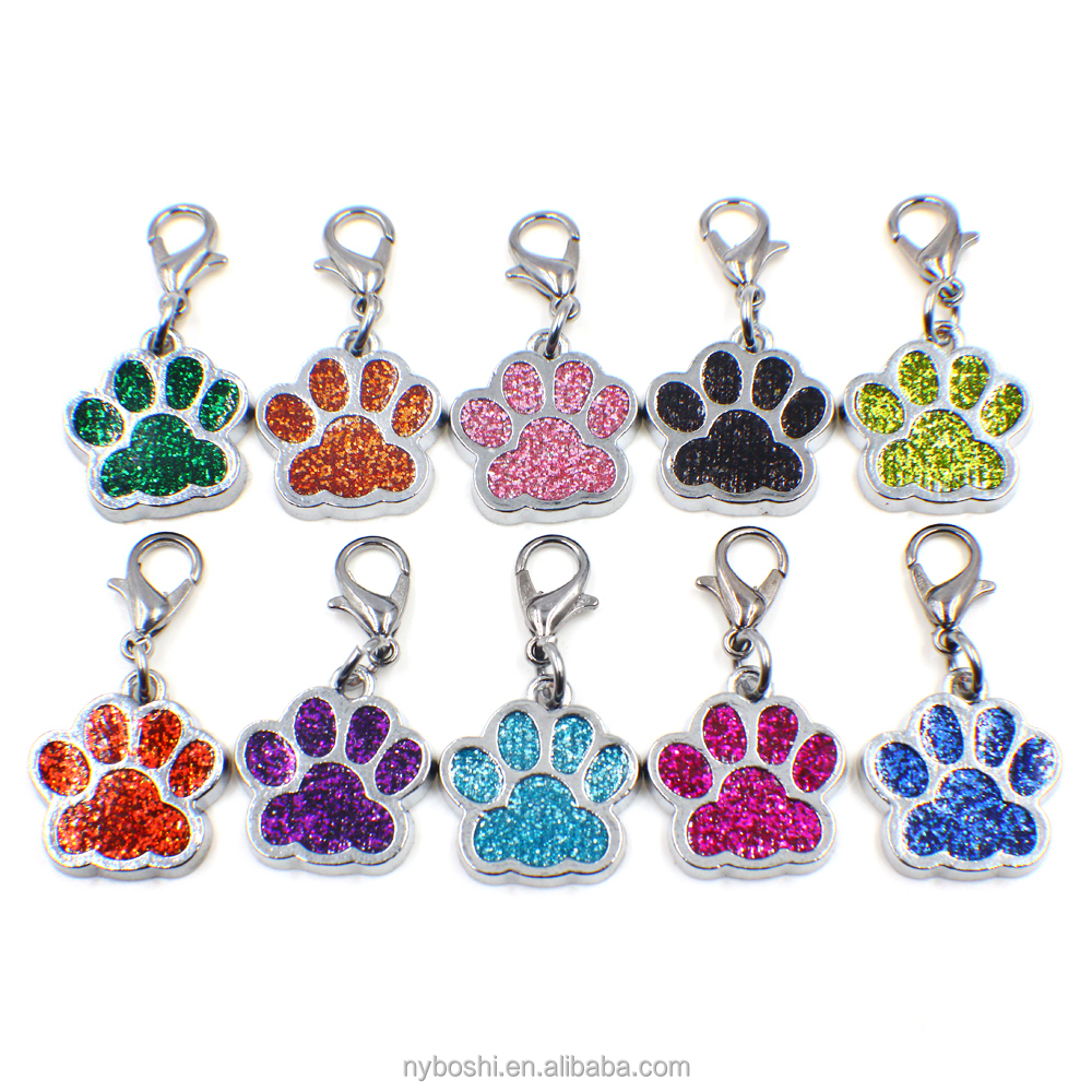 China factory direct price HC358 Bling Enamel ID Tags Cat Dog Bear Paw Prints Rotating dangle pendant Key Chain Keyrings bag