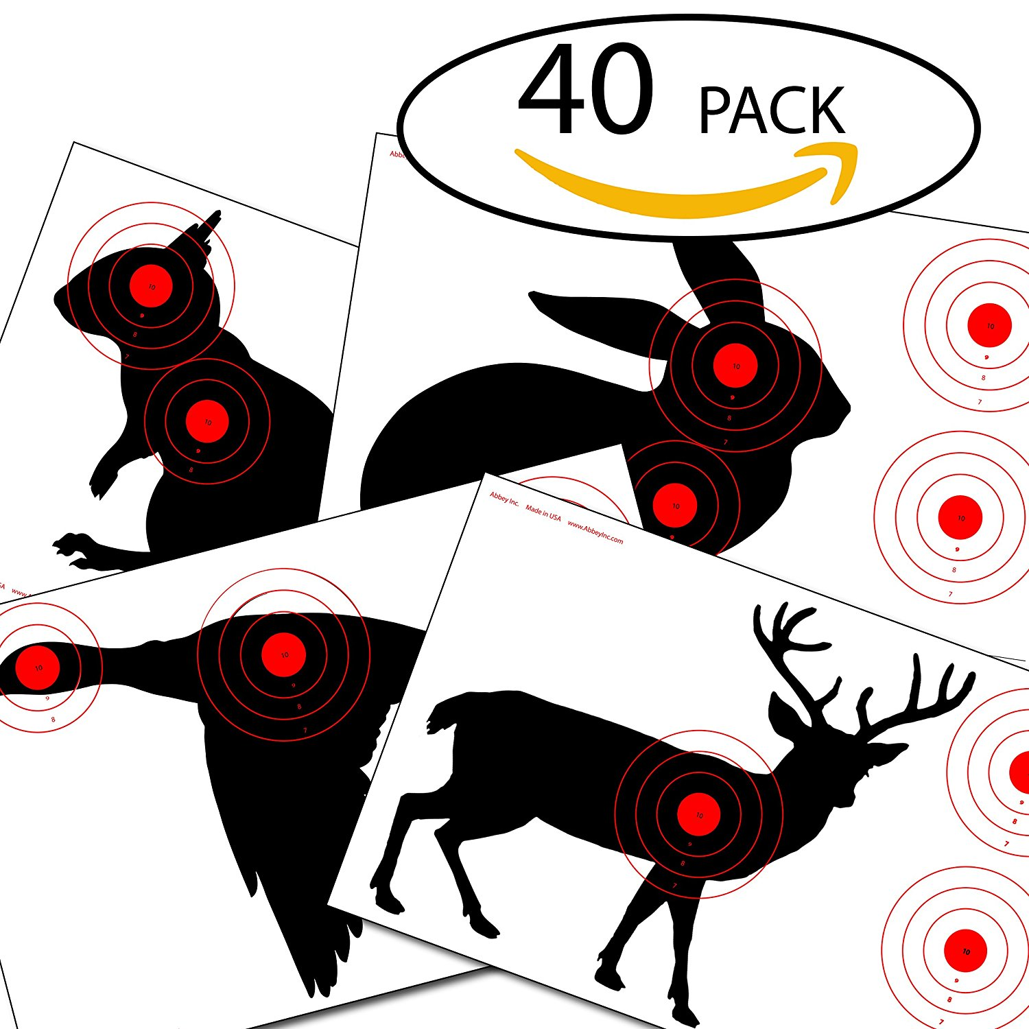 "abbey Inc. Paper Targets For Shooting Practice | Gun And Rifle Animal Targets | Target Shooting Range Accessories | 11"" x 17"" (40 Pack)"