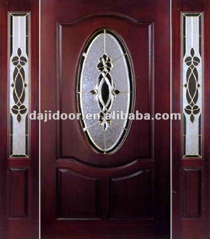 Lujo 3 lite madera puertas exteriores inserciones de for Puertas dobles de madera exterior